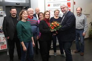 Jenny Huschke nach ihrer Wahl als Kreisvorsitzende des DGB Kassel
